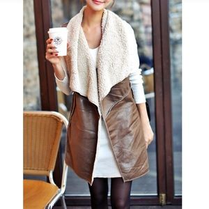Me Jane Long Faux Leather and Shearling Vest